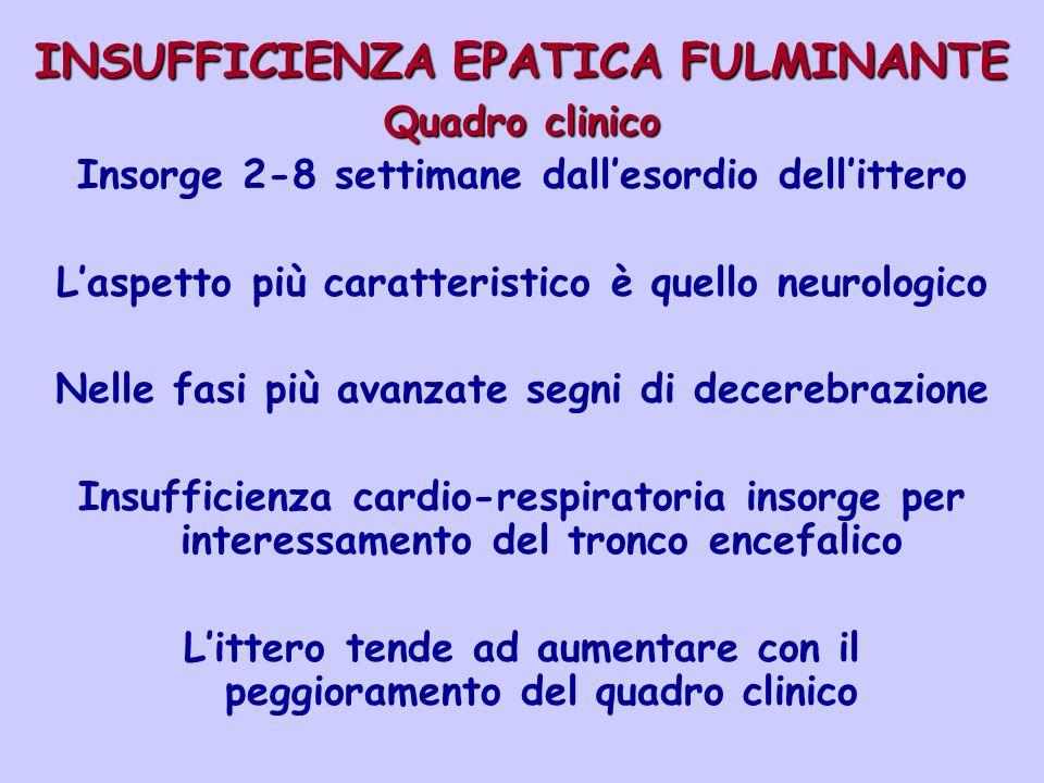 INSUFFICIENZA EPATICA FULMINANTE Quadro clinico Insorge 2-8 settimane dallesordio dellittero Laspetto più caratteristico è quello neurologico Nelle fa