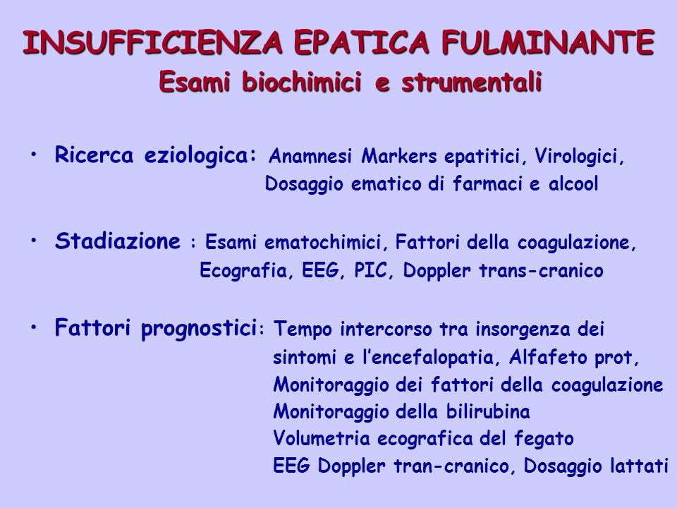 INSUFFICIENZA EPATICA FULMINANTE Esami biochimici e strumentali Ricerca eziologica: Anamnesi Markers epatitici, Virologici, Dosaggio ematico di farmac