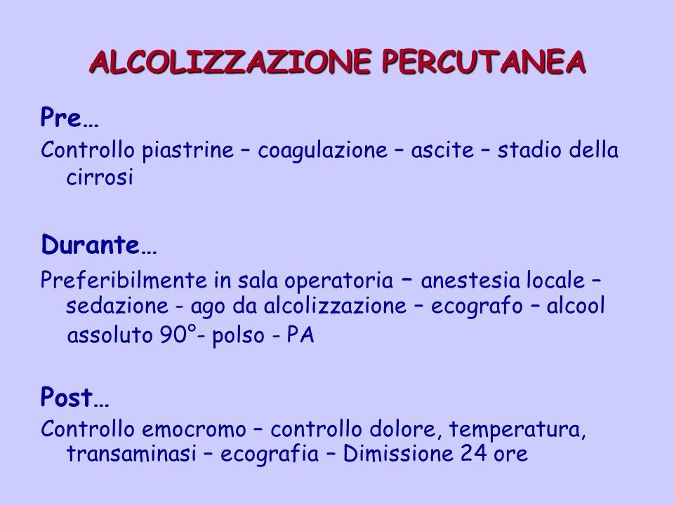 ALCOLIZZAZIONE PERCUTANEA Pre… Controllo piastrine – coagulazione – ascite – stadio della cirrosi Durante… Preferibilmente in sala operatoria – aneste
