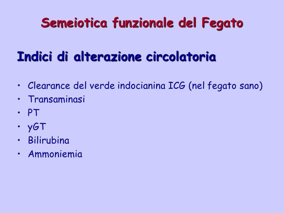 Semeiotica funzionale del Fegato Indici di alterazione circolatoria Clearance del verde indocianina ICG (nel fegato sano) Transaminasi PT yGT Bilirubi