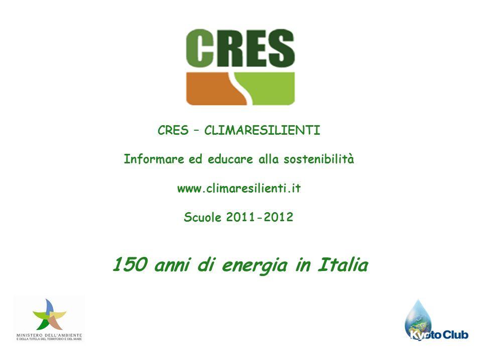 CRES – CLIMARESILIENTI Informare ed educare alla sostenibilità www.climaresilienti.it Scuole 2011-2012 150 anni di energia in Italia