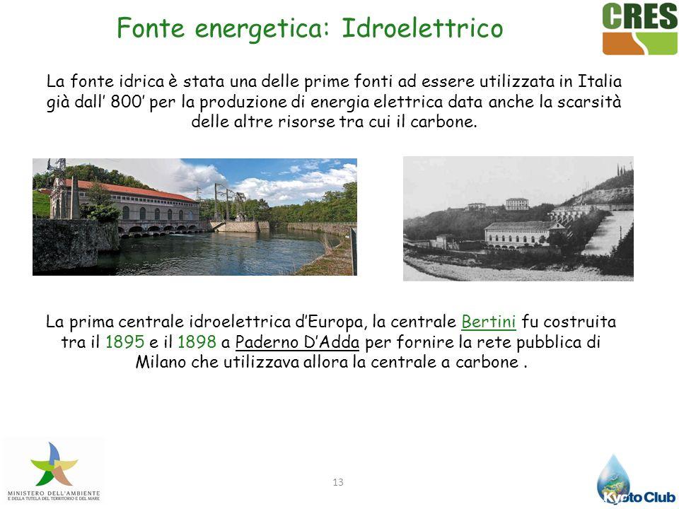 13 La fonte idrica è stata una delle prime fonti ad essere utilizzata in Italia già dall 800 per la produzione di energia elettrica data anche la scar