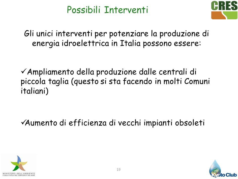 19 Gli unici interventi per potenziare la produzione di energia idroelettrica in Italia possono essere: Ampliamento della produzione dalle centrali di