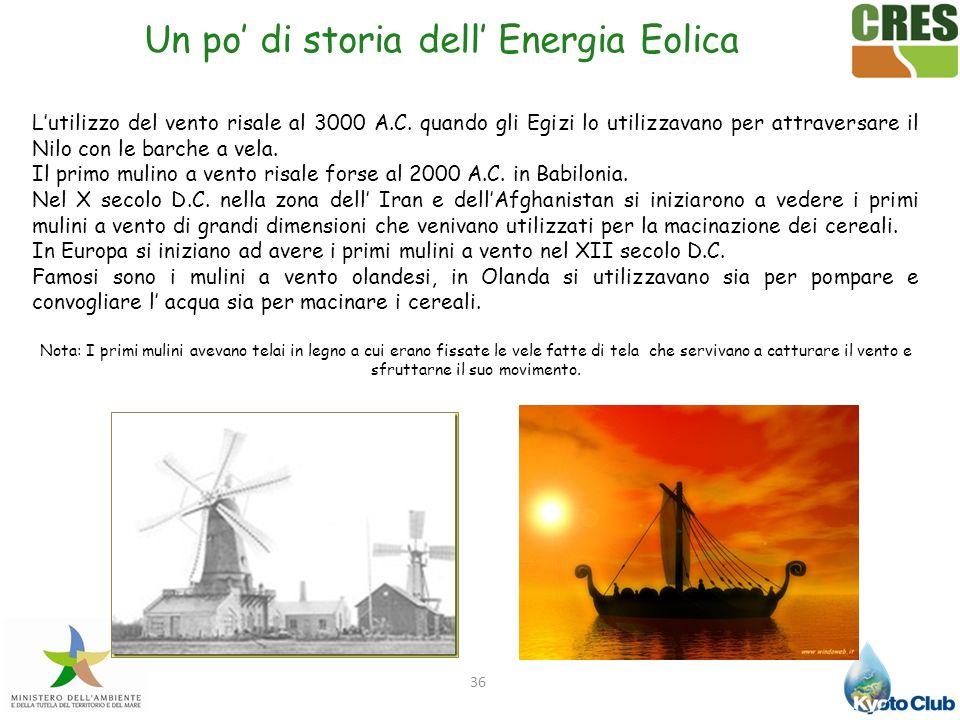 36 Un po di storia dell Energia Eolica Lutilizzo del vento risale al 3000 A.C. quando gli Egizi lo utilizzavano per attraversare il Nilo con le barche