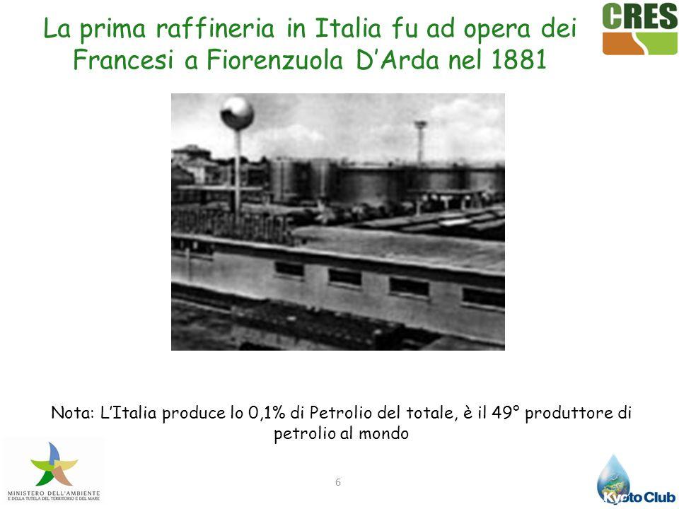 6 Nota: LItalia produce lo 0,1% di Petrolio del totale, è il 49° produttore di petrolio al mondo La prima raffineria in Italia fu ad opera dei Frances