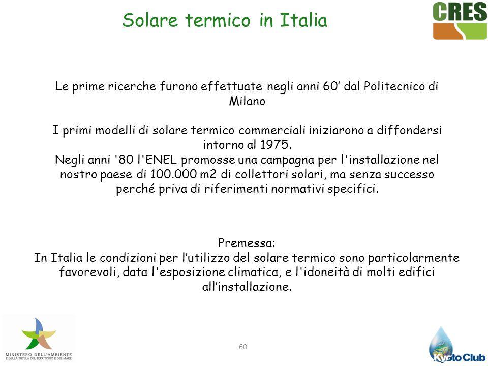 60 Le prime ricerche furono effettuate negli anni 60 dal Politecnico di Milano I primi modelli di solare termico commerciali iniziarono a diffondersi