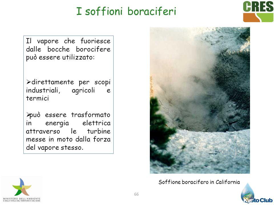 66 Il vapore che fuoriesce dalle bocche borocifere può essere utilizzato: direttamente per scopi industriali, agricoli e termici può essere trasformat