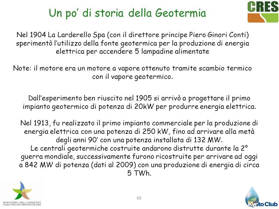68 Nel 1904 La Larderello Spa (con il direttore principe Piero Ginori Conti) sperimentò lutilizzo della fonte geotermica per la produzione di energia