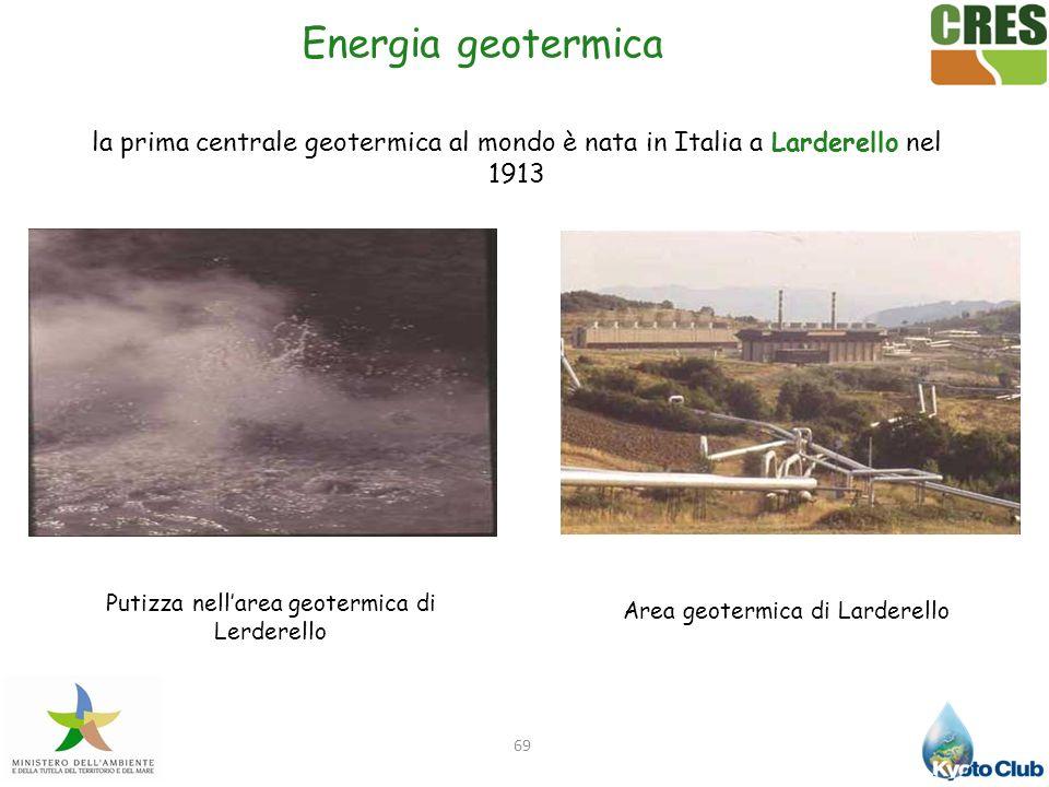 69 Energia geotermica la prima centrale geotermica al mondo è nata in Italia a Larderello nel 1913 Area geotermica di Larderello Putizza nellarea geot