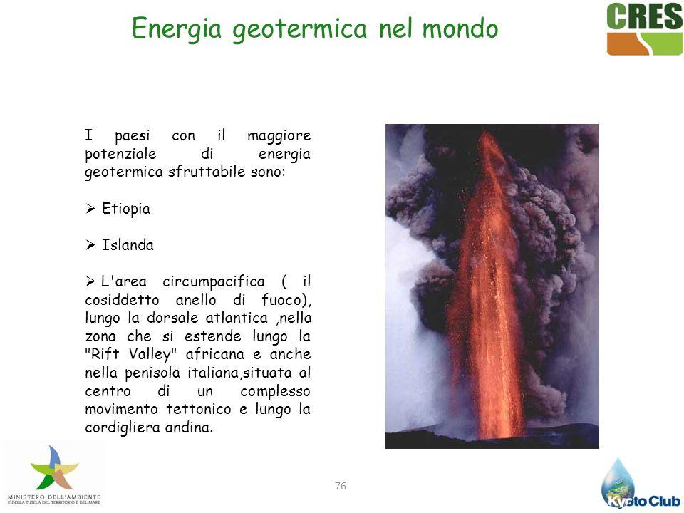 76 I paesi con il maggiore potenziale di energia geotermica sfruttabile sono: Etiopia Islanda L'area circumpacifica ( il cosiddetto anello di fuoco),