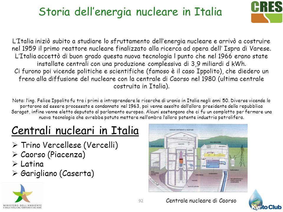 92 LItalia iniziò subito a studiare lo sfruttamento dellenergia nucleare e arrivò a costruire nel 1959 il primo reattore nucleare finalizzato alla ric