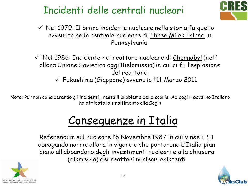 94 Incidenti delle centrali nucleari Nel 1979: Il primo incidente nucleare nella storia fu quello avvenuto nella centrale nucleare di Three Miles Isla