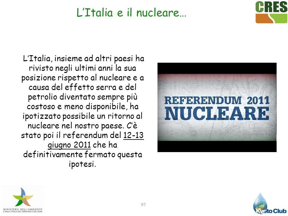 LItalia e il nucleare… 97 LItalia, insieme ad altri paesi ha rivisto negli ultimi anni la sua posizione rispetto al nucleare e a causa del effetto ser