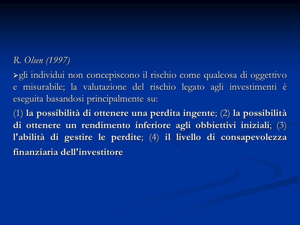 R. Olsen (1997) gli individui non concepiscono il rischio come qualcosa di oggettivo e misurabile; la valutazione del rischio legato agli investimenti