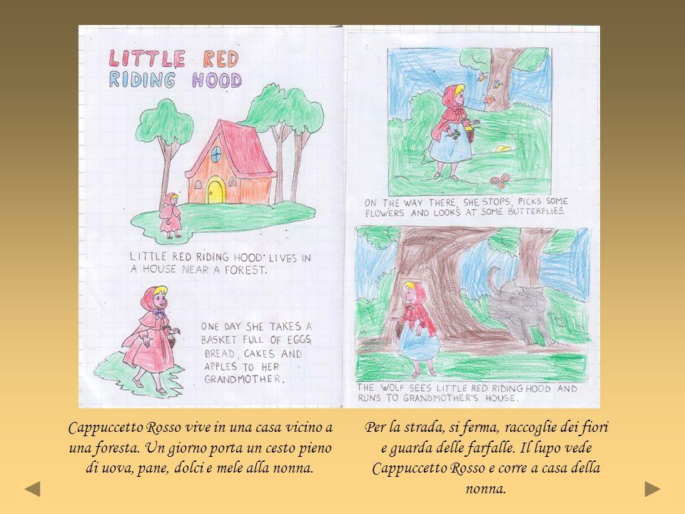 Cappuccetto Rosso vive in una casa vicino a una foresta. Un giorno porta un cesto pieno di uova, pane, dolci e mele alla nonna. Per la strada, si ferm