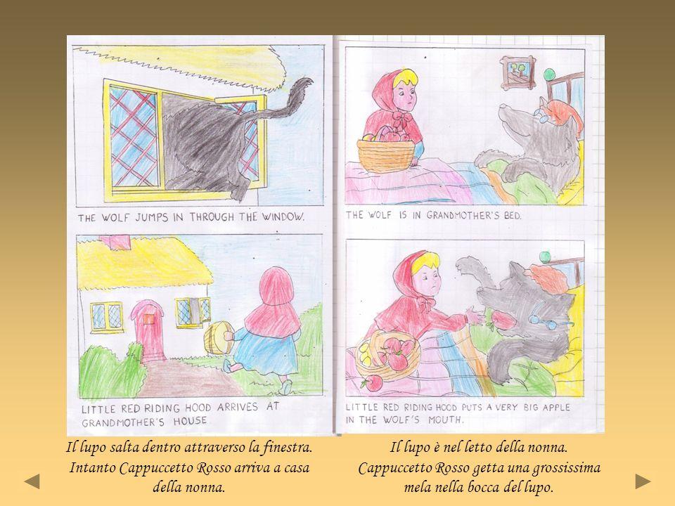 Il lupo salta dentro attraverso la finestra. Intanto Cappuccetto Rosso arriva a casa della nonna. Il lupo è nel letto della nonna. Cappuccetto Rosso g