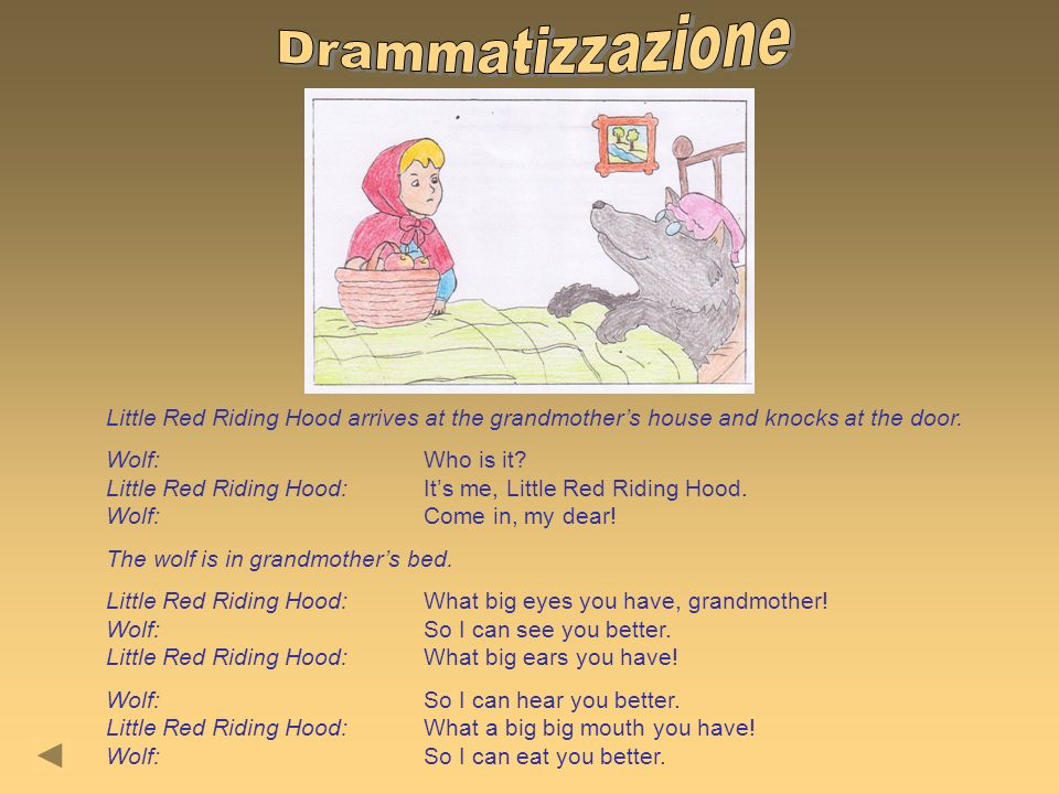 Little Red Riding Hood arrives at the grandmothers house and knocks at the door. Wolf:Who is it? Little Red Riding Hood:Its me, Little Red Riding Hood