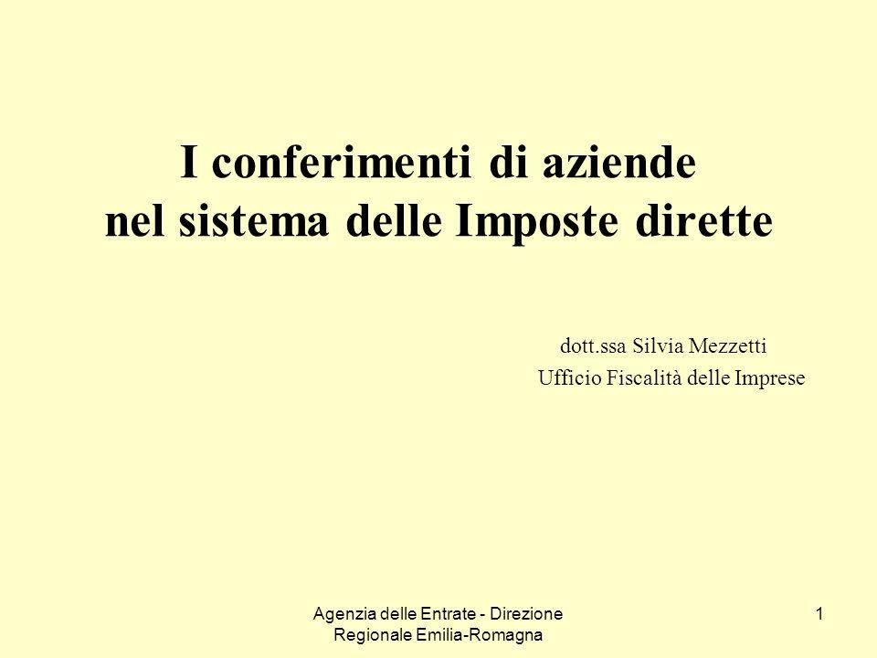 Agenzia delle Entrate - Direzione Regionale Emilia-Romagna 1 I conferimenti di aziende nel sistema delle Imposte dirette dott.ssa Silvia Mezzetti Uffi