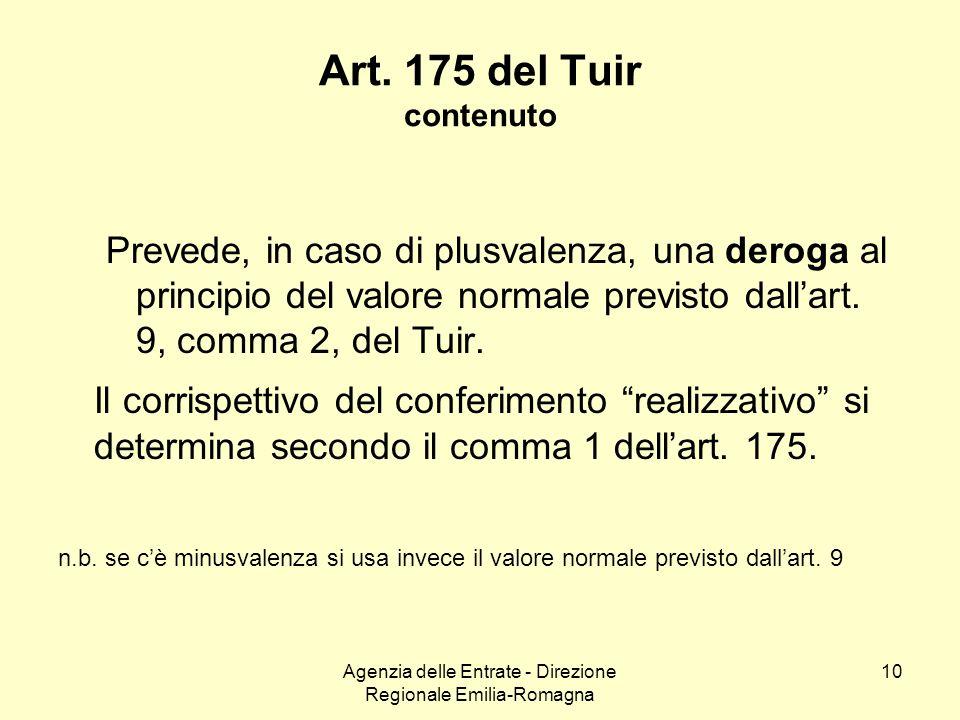 Agenzia delle Entrate - Direzione Regionale Emilia-Romagna 10 Art. 175 del Tuir contenuto Prevede, in caso di plusvalenza, una deroga al principio del