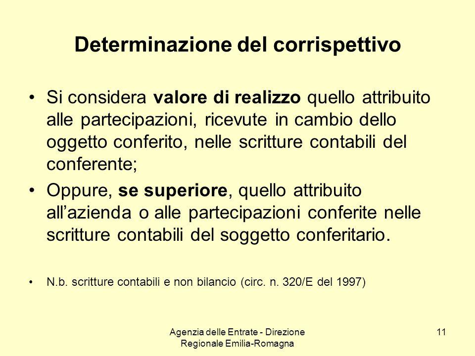 Agenzia delle Entrate - Direzione Regionale Emilia-Romagna 11 Determinazione del corrispettivo Si considera valore di realizzo quello attribuito alle