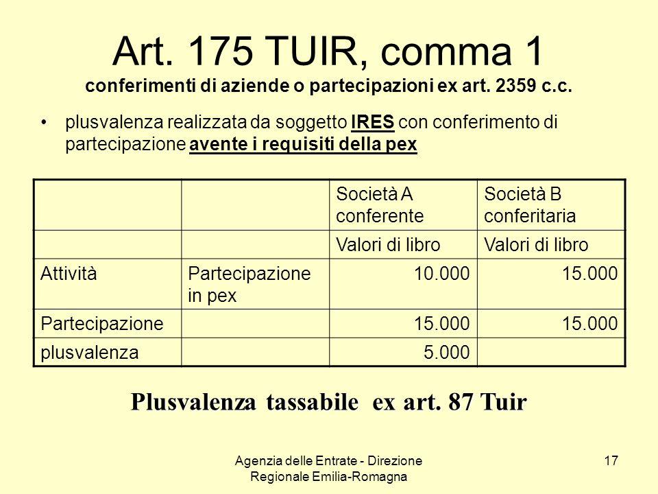 Agenzia delle Entrate - Direzione Regionale Emilia-Romagna 17 Art. 175 TUIR, comma 1 conferimenti di aziende o partecipazioni ex art. 2359 c.c. plusva