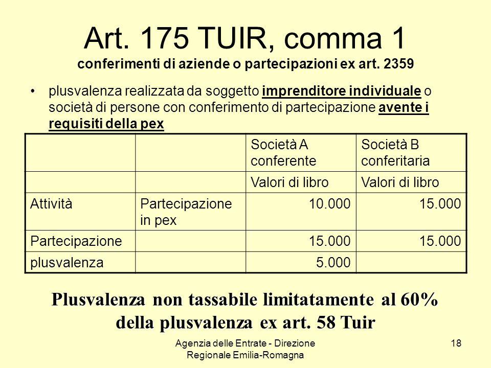 Agenzia delle Entrate - Direzione Regionale Emilia-Romagna 18 Art. 175 TUIR, comma 1 conferimenti di aziende o partecipazioni ex art. 2359 plusvalenza