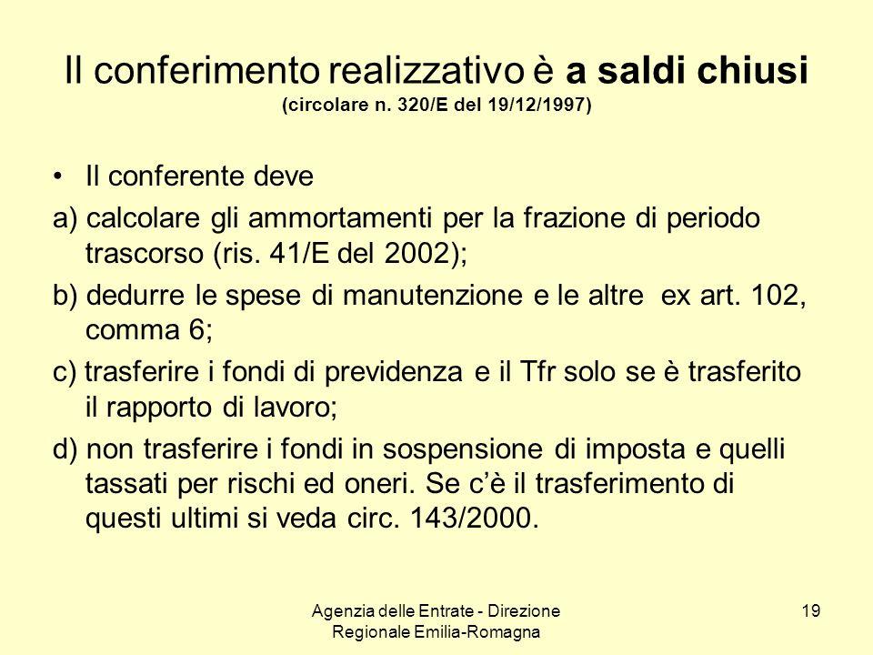 Agenzia delle Entrate - Direzione Regionale Emilia-Romagna 19 Il conferimento realizzativo è a saldi chiusi (circolare n. 320/E del 19/12/1997) Il con