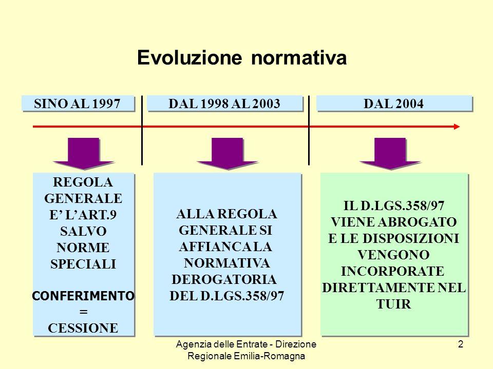 Agenzia delle Entrate - Direzione Regionale Emilia-Romagna 2 Evoluzione normativa SINO AL 1997 DAL 1998 AL 2003 DAL 2004 REGOLA GENERALE E LART.9 SALV