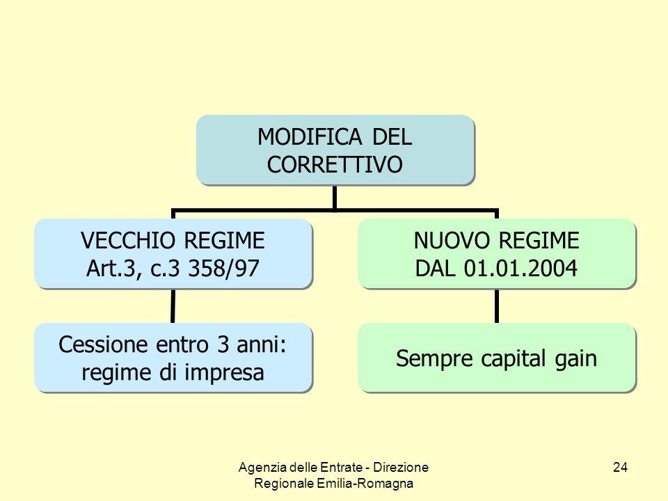 Agenzia delle Entrate - Direzione Regionale Emilia-Romagna 24 MODIFICA DEL CORRETTIVO VECCHIO REGIME Art.3, c.3 358/97 Cessione entro 3 anni: regime d