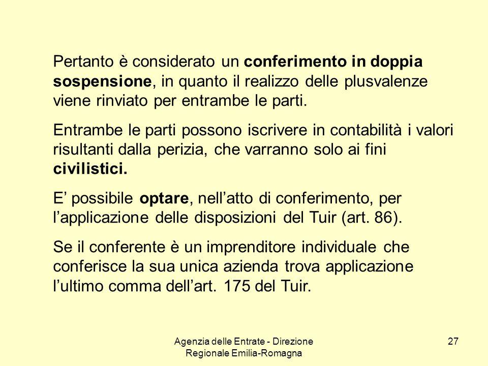 Agenzia delle Entrate - Direzione Regionale Emilia-Romagna 27 Pertanto è considerato un conferimento in doppia sospensione, in quanto il realizzo dell