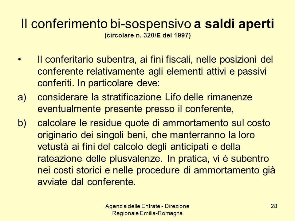 Agenzia delle Entrate - Direzione Regionale Emilia-Romagna 28 Il conferimento bi-sospensivo a saldi aperti (circolare n. 320/E del 1997) Il conferitar
