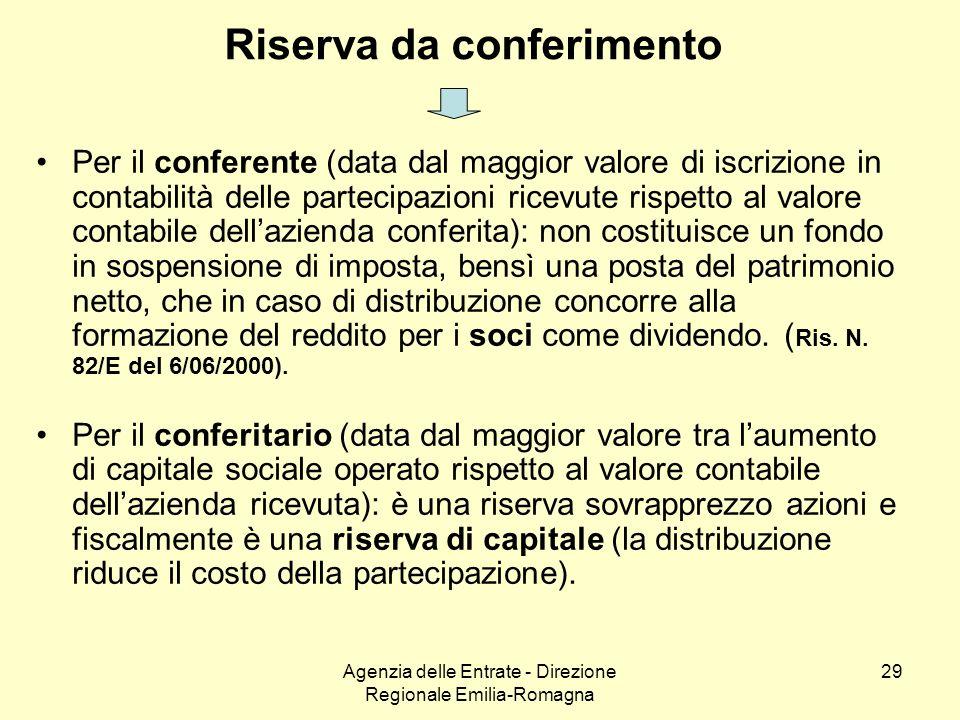 Agenzia delle Entrate - Direzione Regionale Emilia-Romagna 29 Riserva da conferimento Per il conferente (data dal maggior valore di iscrizione in cont