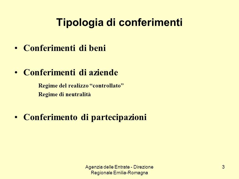 Agenzia delle Entrate - Direzione Regionale Emilia-Romagna 3 Tipologia di conferimenti Conferimenti di beni Conferimenti di aziende Regime del realizz