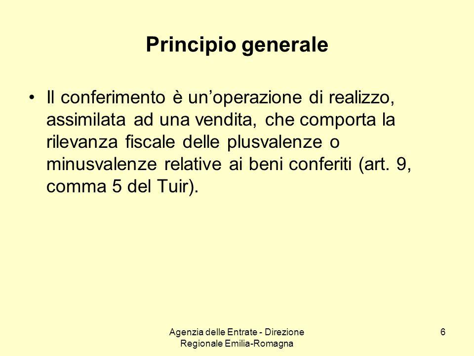Agenzia delle Entrate - Direzione Regionale Emilia-Romagna 6 Principio generale Il conferimento è unoperazione di realizzo, assimilata ad una vendita,