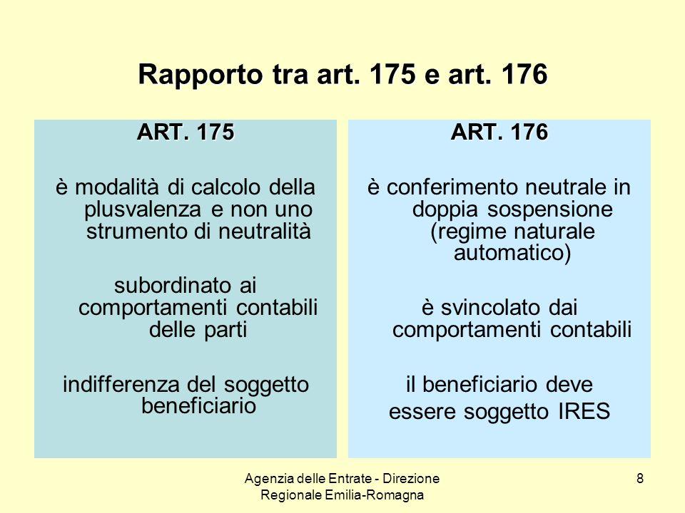 Agenzia delle Entrate - Direzione Regionale Emilia-Romagna 8 Rapporto tra art. 175 e art. 176 ART. 175 è modalità di calcolo della plusvalenza e non u