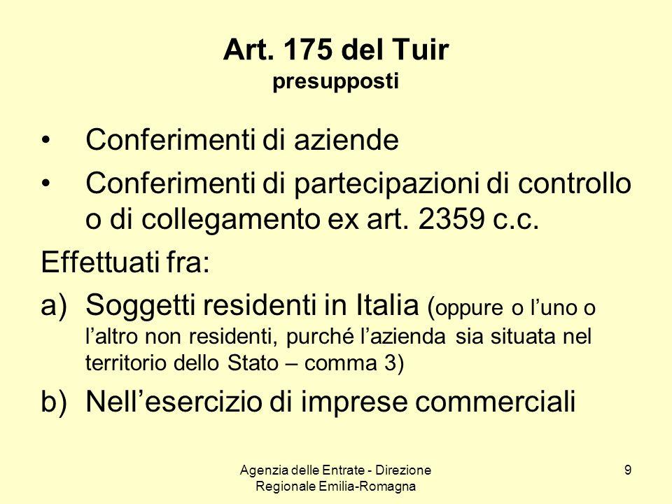 Agenzia delle Entrate - Direzione Regionale Emilia-Romagna 9 Art. 175 del Tuir presupposti Conferimenti di aziende Conferimenti di partecipazioni di c
