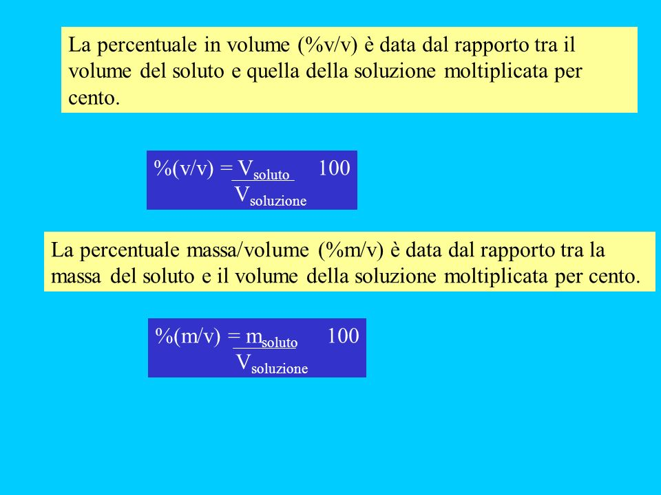 La percentuale in volume (%v/v) è data dal rapporto tra il volume del soluto e quella della soluzione moltiplicata per cento. La percentuale massa/vol
