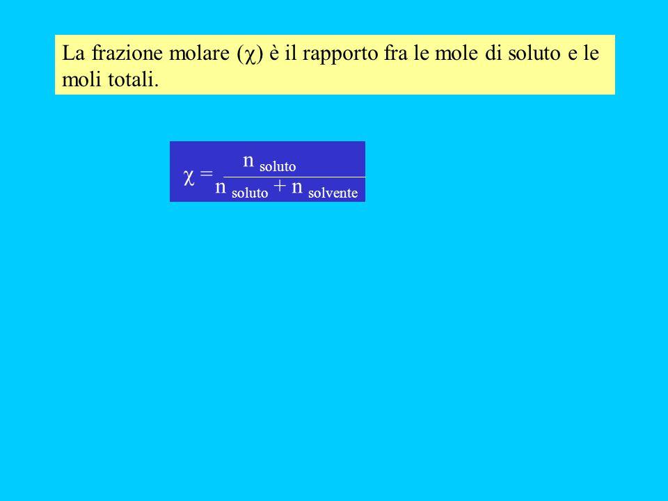 La frazione molare ( ) è il rapporto fra le mole di soluto e le moli totali. n soluto n soluto + n solvente =