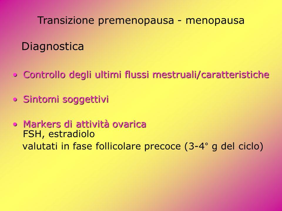 Diagnostica Controllo degli ultimi flussi mestruali/caratteristicheControllo degli ultimi flussi mestruali/caratteristiche Sintomi soggettiviSintomi s