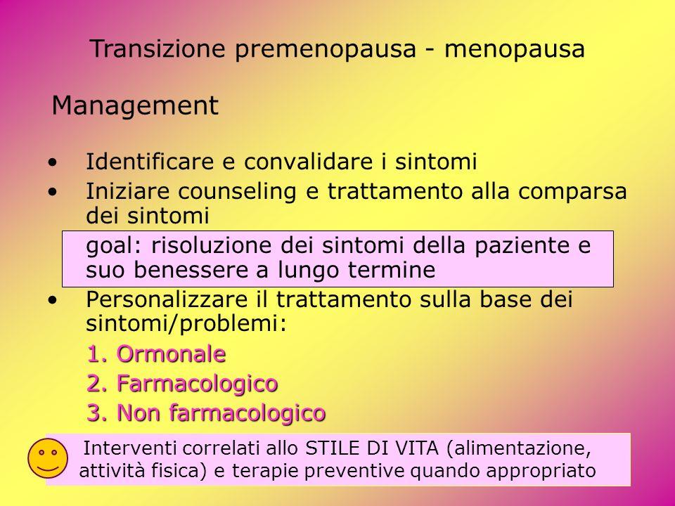 Management Identificare e convalidare i sintomi Iniziare counseling e trattamento alla comparsa dei sintomi goal: risoluzione dei sintomi della pazien