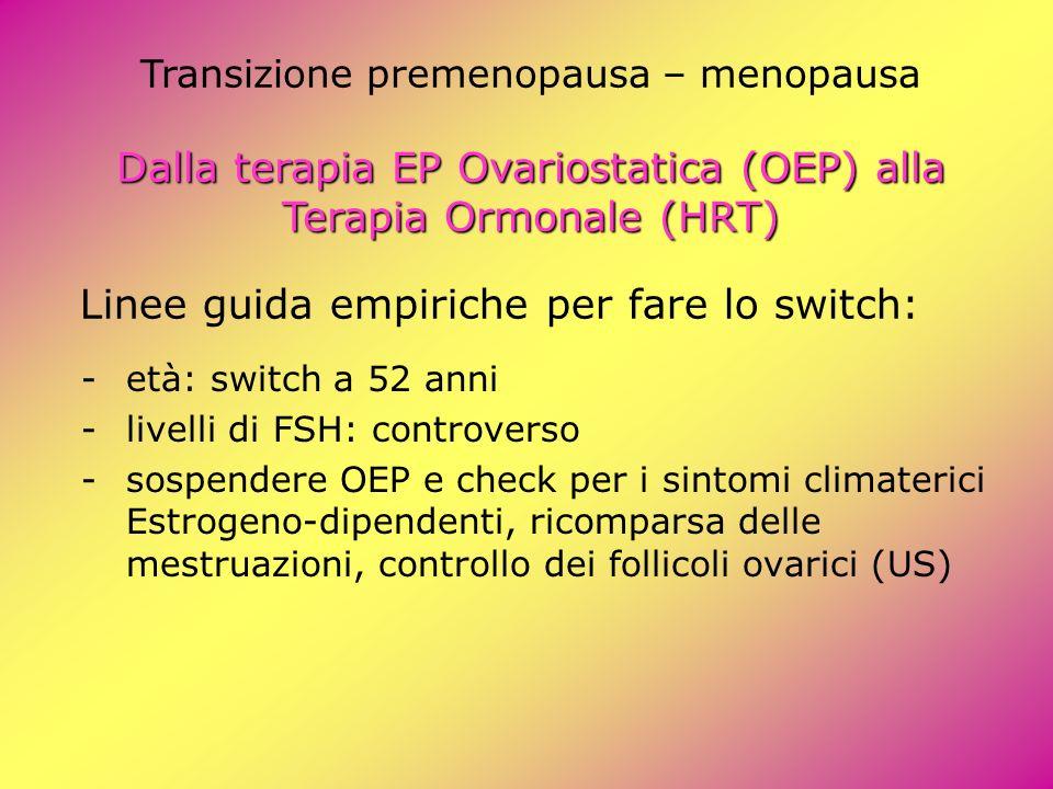 Linee guida empiriche per fare lo switch: Dalla terapia EP Ovariostatica (OEP) alla Terapia Ormonale (HRT) Transizione premenopausa – menopausa Dalla