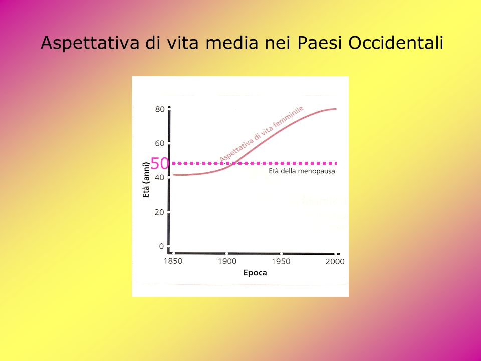 Aspettativa di vita media nei Paesi Occidentali 50
