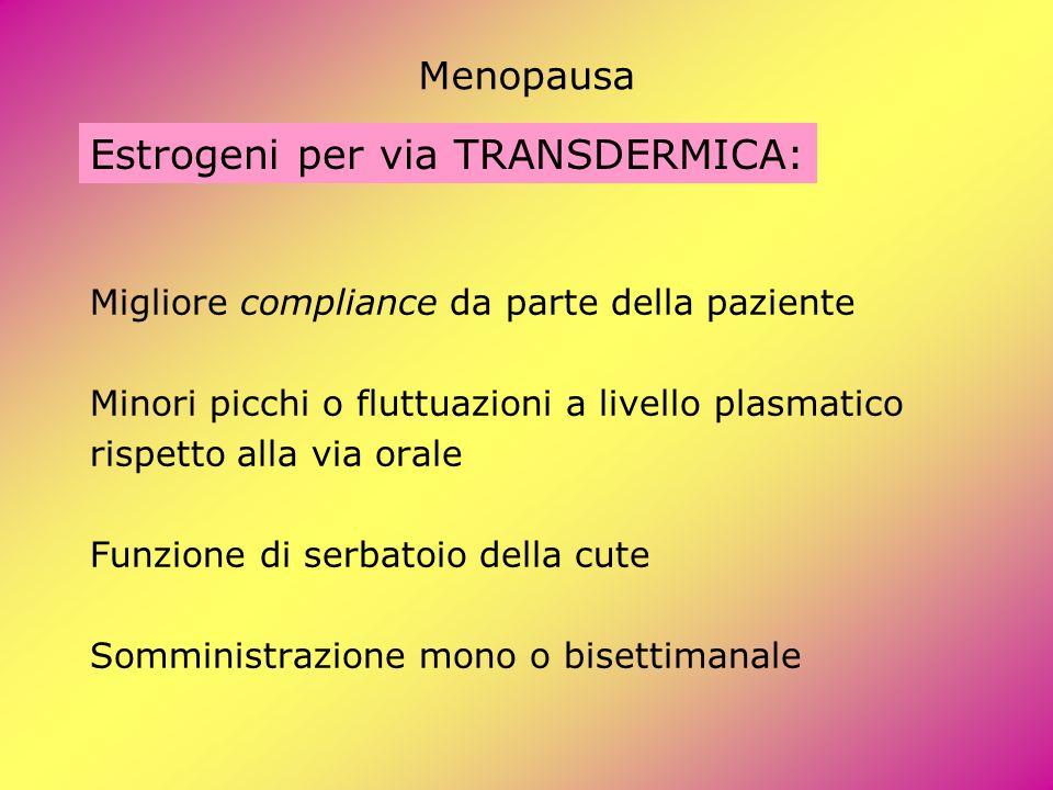Menopausa Estrogeni per via TRANSDERMICA: Migliore compliance da parte della paziente Minori picchi o fluttuazioni a livello plasmatico rispetto alla