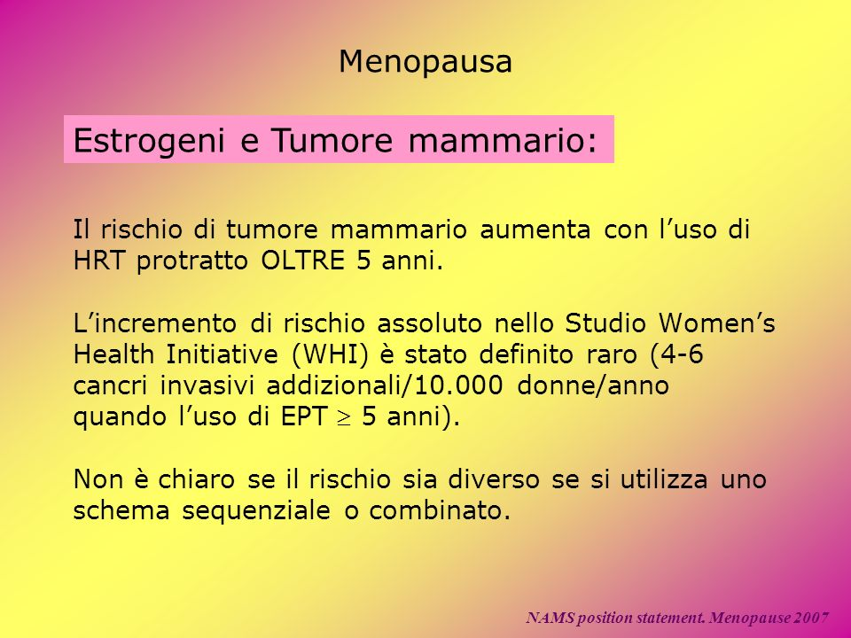 Menopausa Estrogeni e Tumore mammario: NAMS position statement. Menopause 2007 Il rischio di tumore mammario aumenta con luso di HRT protratto OLTRE 5