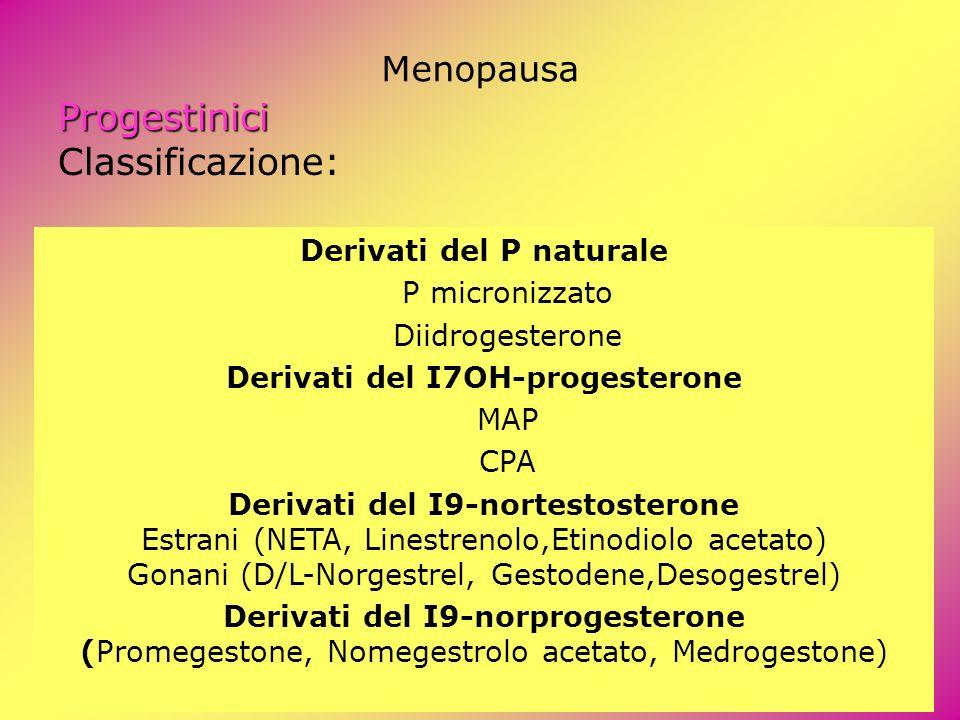 Menopausa Progestinici Classificazione: Derivati del P naturale P micronizzato Diidrogesterone Derivati del I7OH-progesterone MAP CPA Derivati del I9-