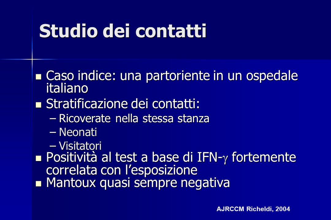 Studio dei contatti Caso indice: una partoriente in un ospedale italiano Caso indice: una partoriente in un ospedale italiano Stratificazione dei cont