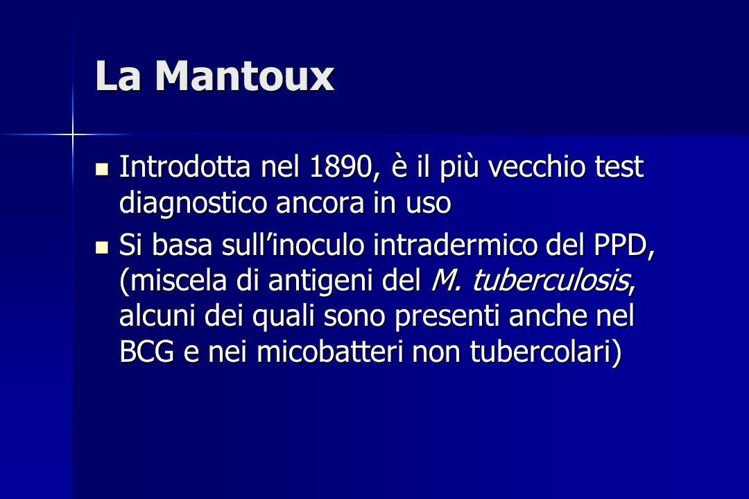La Mantoux Introdotta nel 1890, è il più vecchio test diagnostico ancora in uso Introdotta nel 1890, è il più vecchio test diagnostico ancora in uso S