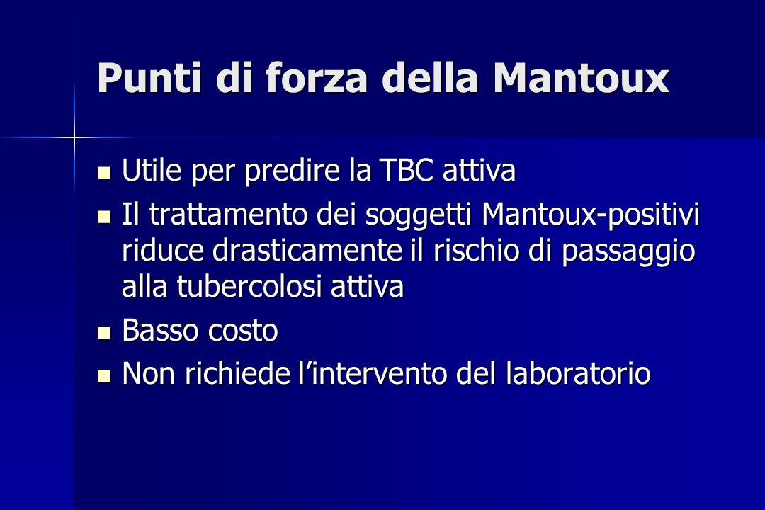 Punti di forza della Mantoux Utile per predire la TBC attiva Utile per predire la TBC attiva Il trattamento dei soggetti Mantoux-positivi riduce drast