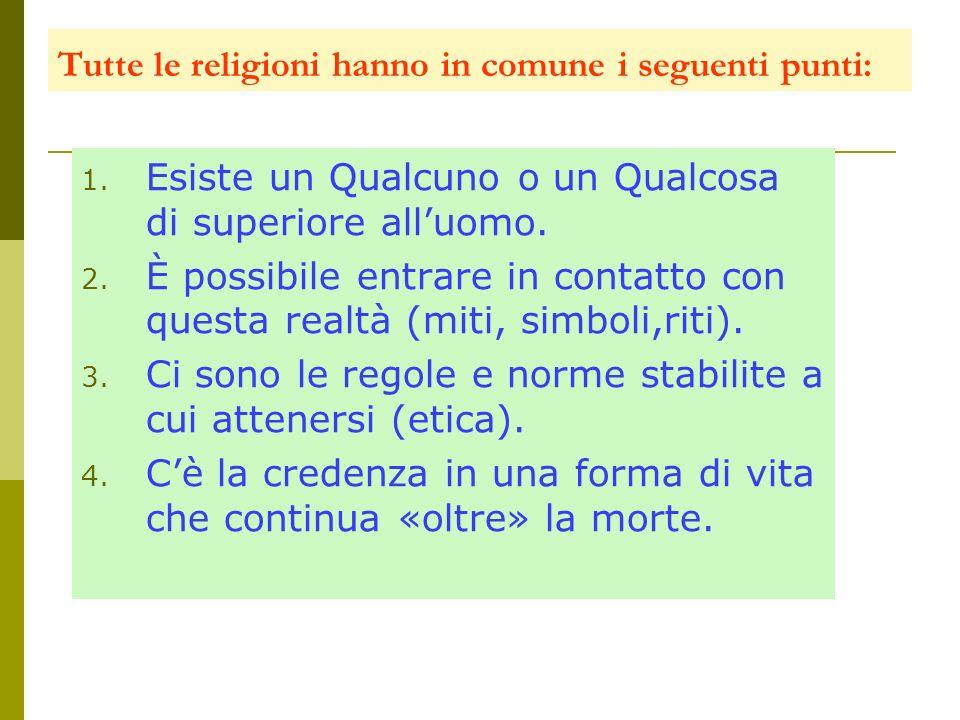 Tutte le religioni hanno in comune i seguenti punti: 1. Esiste un Qualcuno o un Qualcosa di superiore alluomo. 2. È possibile entrare in contatto con