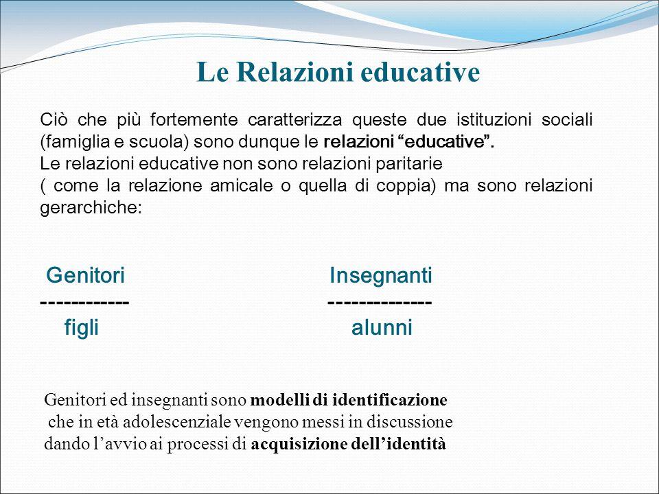 Ciò che più fortemente caratterizza queste due istituzioni sociali (famiglia e scuola) sono dunque le relazioni educative. Le relazioni educative non